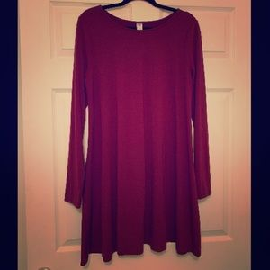 Burgundy long sleeved swing dress